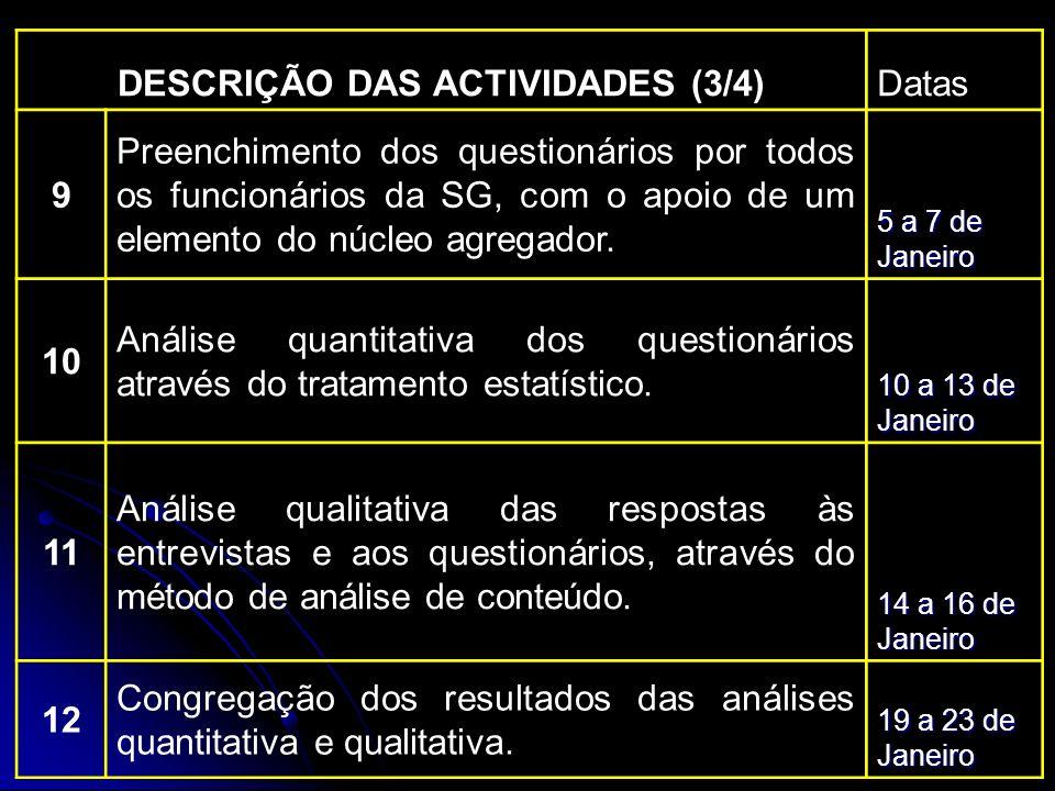 DESCRIÇÃO DAS ACTIVIDADES (3/4)Datas 9 Preenchimento dos questionários por todos os funcionários da SG, com o apoio de um elemento do núcleo agregador