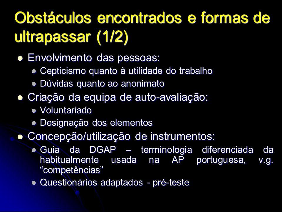 Obstáculos encontrados e formas de ultrapassar (1/2) Envolvimento das pessoas: Envolvimento das pessoas: Cepticismo quanto à utilidade do trabalho Cep