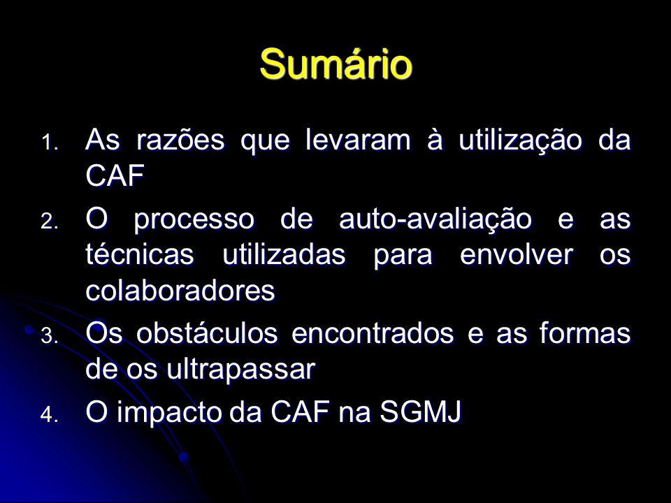 Sumário 1. As razões que levaram à utilização da CAF 2. O processo de auto-avaliação e as técnicas utilizadas para envolver os colaboradores 3. Os obs