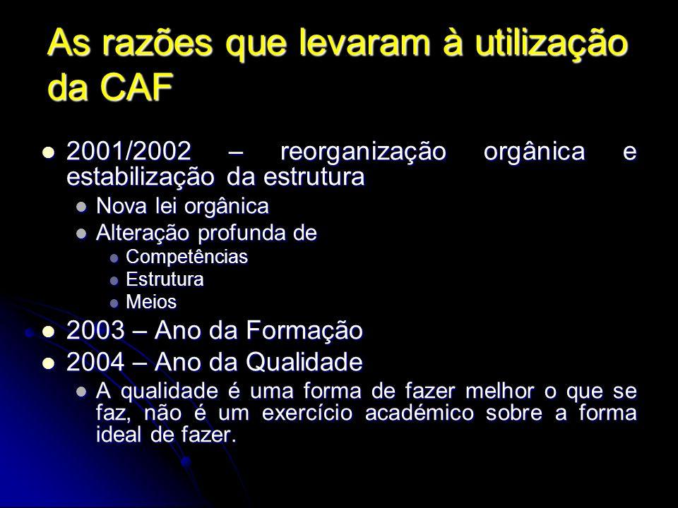 As razões que levaram à utilização da CAF 2001/2002 – reorganização orgânica e estabilização da estrutura 2001/2002 – reorganização orgânica e estabil