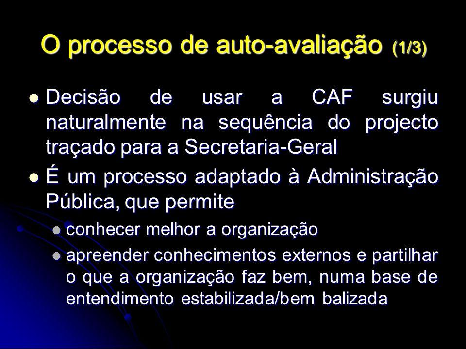 O processo de auto-avaliação (1/3) Decisão de usar a CAF surgiu naturalmente na sequência do projecto traçado para a Secretaria-Geral Decisão de usar