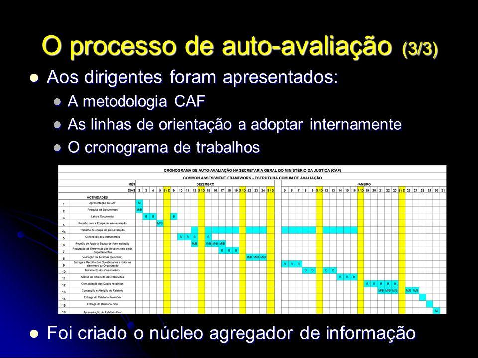 O processo de auto-avaliação (3/3) Aos dirigentes foram apresentados: Aos dirigentes foram apresentados: A metodologia CAF A metodologia CAF As linhas