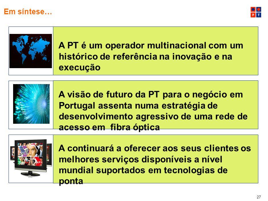 26 Saúde A PT tem já hoje em desenvolovimento projectos estruturantes baseados em fibra óptica Desenvolvimento da educação colaborativa Ligação de 6.4