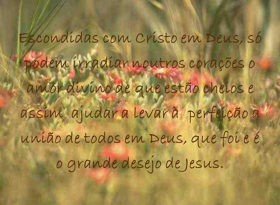 Escondidas com Cristo em Deus, só podem irradiar noutros corações o amor divino de que estão cheios e assim ajudar a levar à perfeição a união de todo