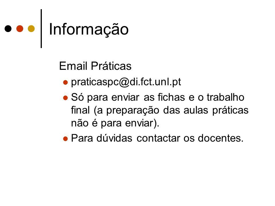 Informação Email Práticas praticaspc@di.fct.unl.pt Só para enviar as fichas e o trabalho final (a preparação das aulas práticas não é para enviar). Pa