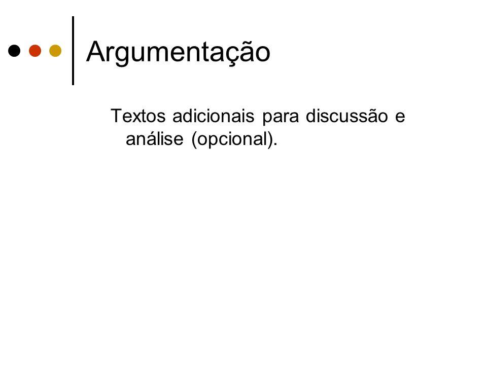 Argumentação Textos adicionais para discussão e análise (opcional).