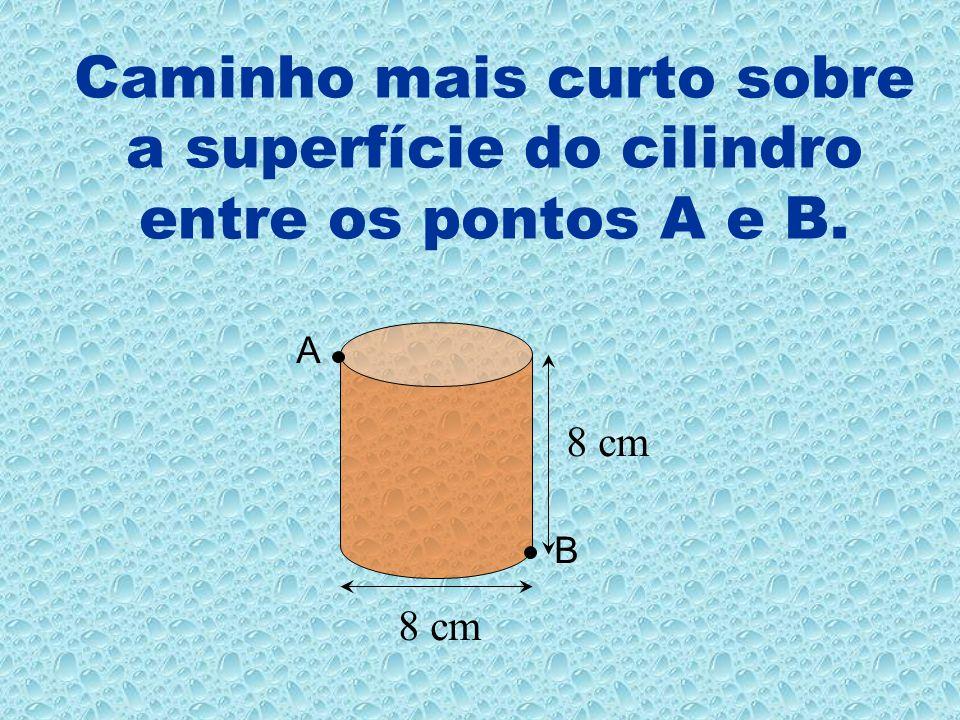 Caminho mais curto sobre a superfície do cilindro entre os pontos A e B. A B 8 cm