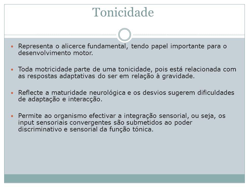Tonicidade Representa o alicerce fundamental, tendo papel importante para o desenvolvimento motor. Toda motricidade parte de uma tonicidade, pois está