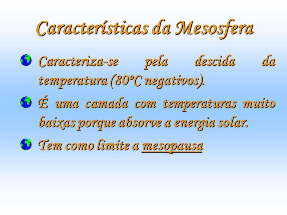 Características da Termosfera É constituída por uma camada que se estende da menopausa até cerca de 500km a 600km de altitude, termopausa.