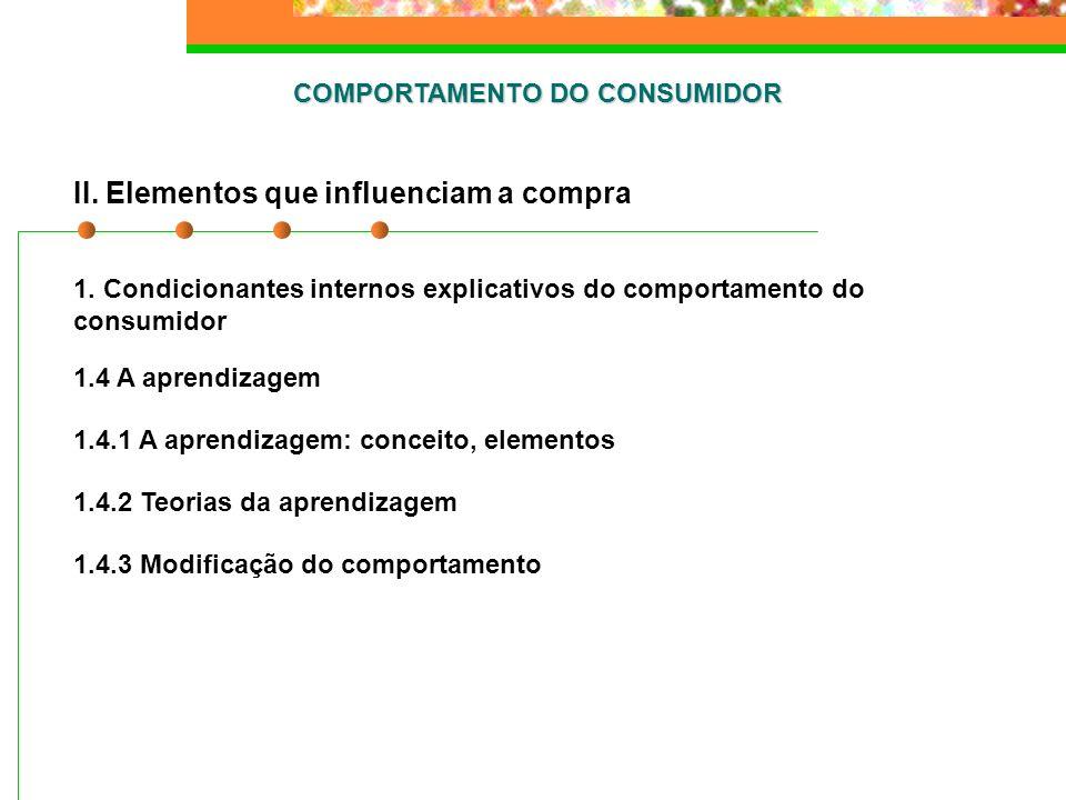COMPORTAMENTO DO CONSUMIDOR II. Elementos que influenciam a compra 1. Condicionantes internos explicativos do comportamento do consumidor 1.4 A aprend
