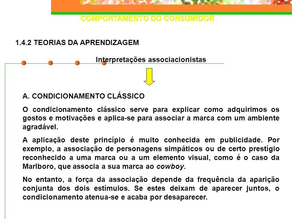 COMPORTAMENTO DO CONSUMIDOR A. CONDICIONAMENTO CLÁSSICO O condicionamento clássico serve para explicar como adquirimos os gostos e motivações e aplica