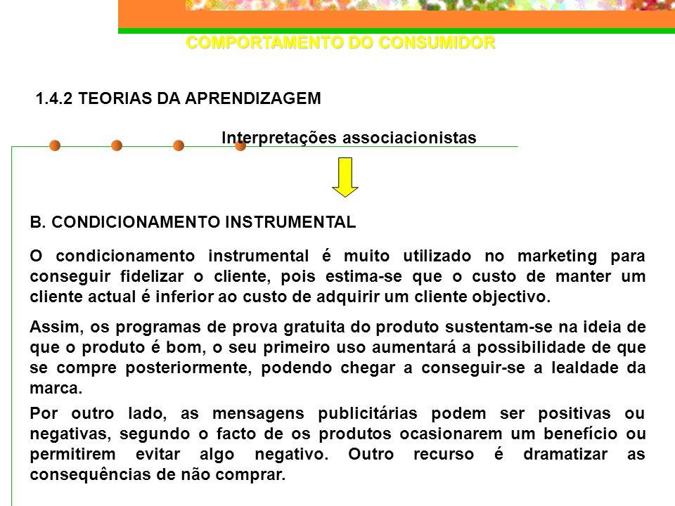 COMPORTAMENTO DO CONSUMIDOR B. CONDICIONAMENTO INSTRUMENTAL Interpretações associacionistas 1.4.2 TEORIAS DA APRENDIZAGEM O condicionamento instrument
