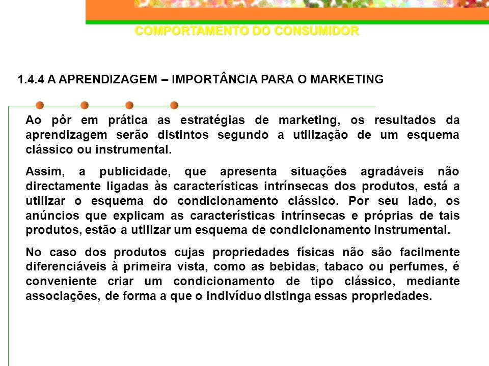 COMPORTAMENTO DO CONSUMIDOR Ao pôr em prática as estratégias de marketing, os resultados da aprendizagem serão distintos segundo a utilização de um es