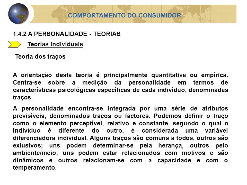 Teorias individuais COMPORTAMENTO DO CONSUMIDOR 1.4.2 A PERSONALIDADE - TEORIAS Teoria dos traços A orientação desta teoria é principalmente quantitat