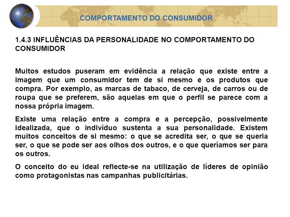 COMPORTAMENTO DO CONSUMIDOR 1.4.3 INFLUÊNCIAS DA PERSONALIDADE NO COMPORTAMENTO DO CONSUMIDOR Muitos estudos puseram em evidência a relação que existe
