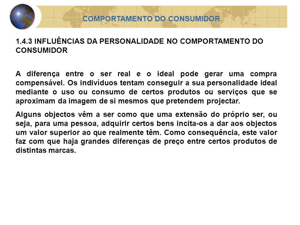 COMPORTAMENTO DO CONSUMIDOR 1.4.3 INFLUÊNCIAS DA PERSONALIDADE NO COMPORTAMENTO DO CONSUMIDOR A diferença entre o ser real e o ideal pode gerar uma co