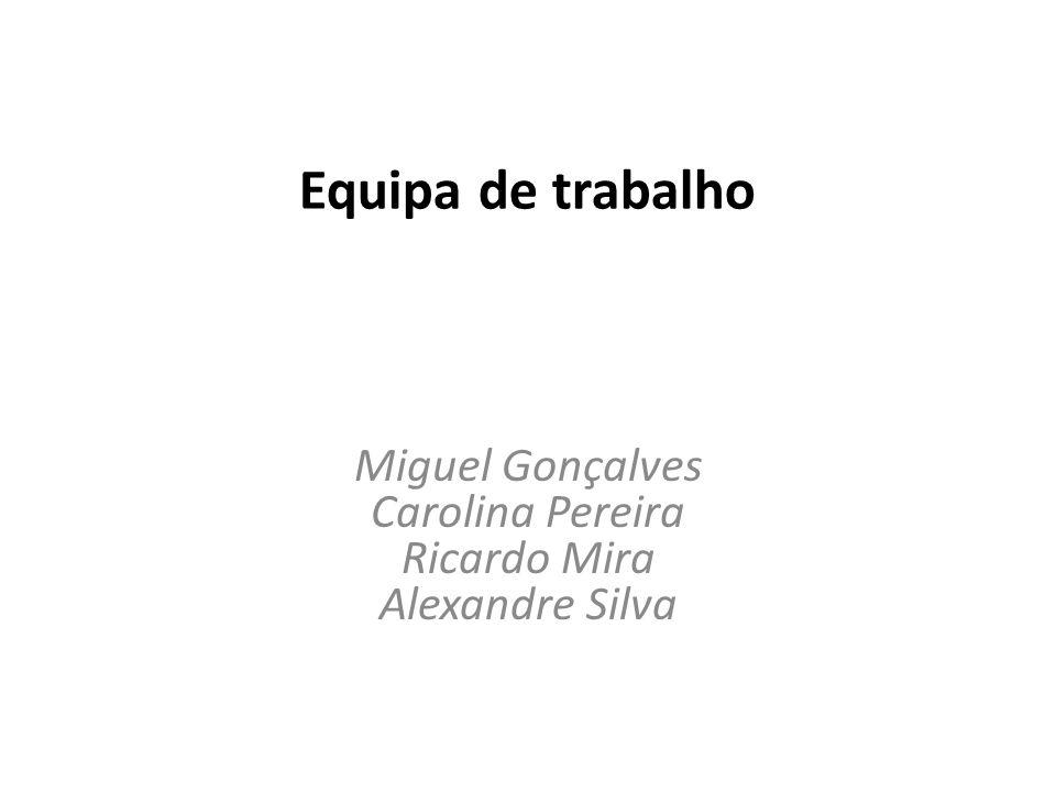 Equipa de trabalho Miguel Gonçalves Carolina Pereira Ricardo Mira Alexandre Silva