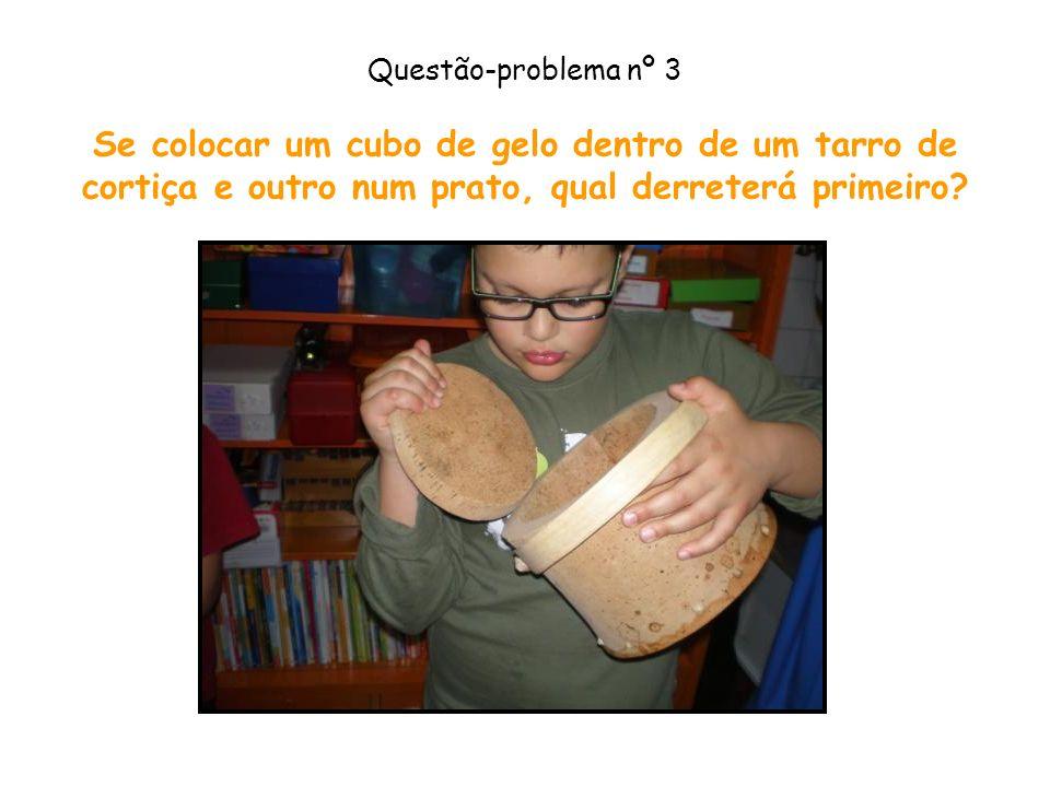 Questão-problema nº 3 Se colocar um cubo de gelo dentro de um tarro de cortiça e outro num prato, qual derreterá primeiro?