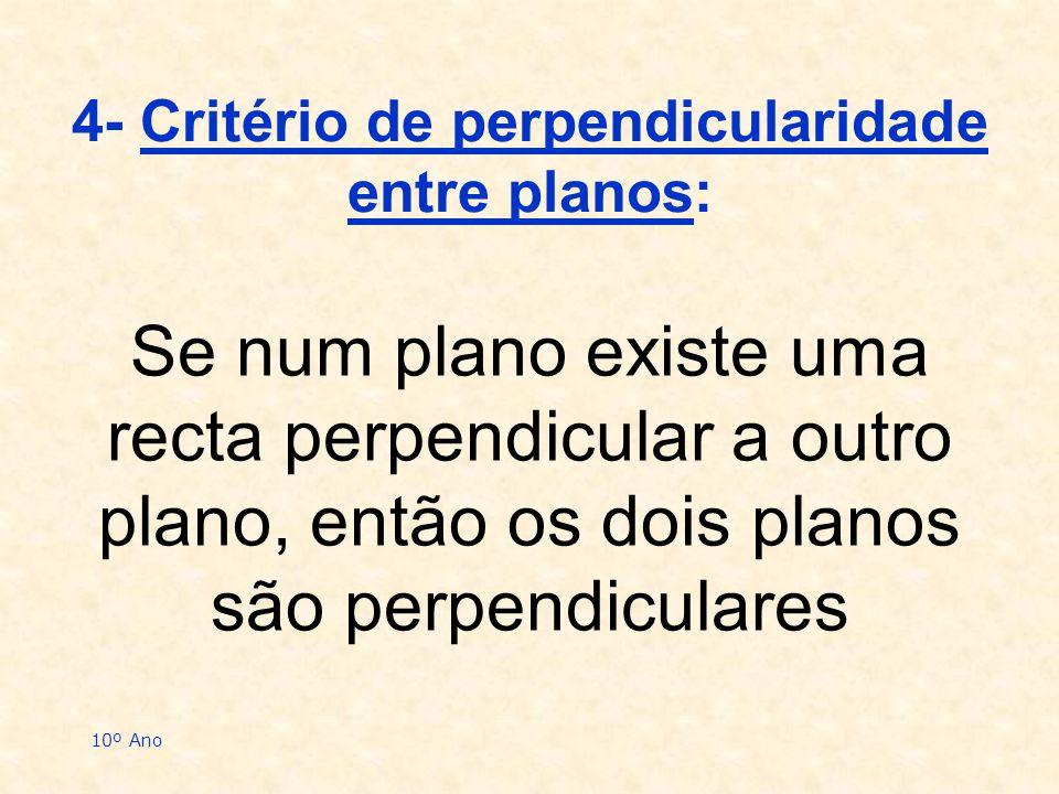 4- Critério de perpendicularidade entre planos: Se num plano existe uma recta perpendicular a outro plano, então os dois planos são perpendiculares