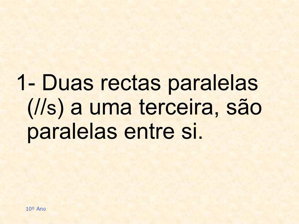 10º Ano 1- Duas rectas paralelas (// s ) a uma terceira, são paralelas entre si.