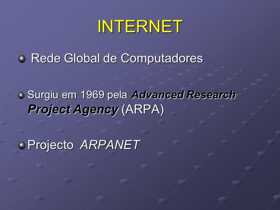 INTERNET Rede Global de Computadores Rede Global de Computadores Surgiu em 1969 pela Advanced Research Project Agency (ARPA) Projecto ARPANET