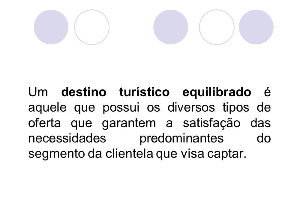 Um destino turístico equilibrado é aquele que possui os diversos tipos de oferta que garantem a satisfação das necessidades predominantes do segmento