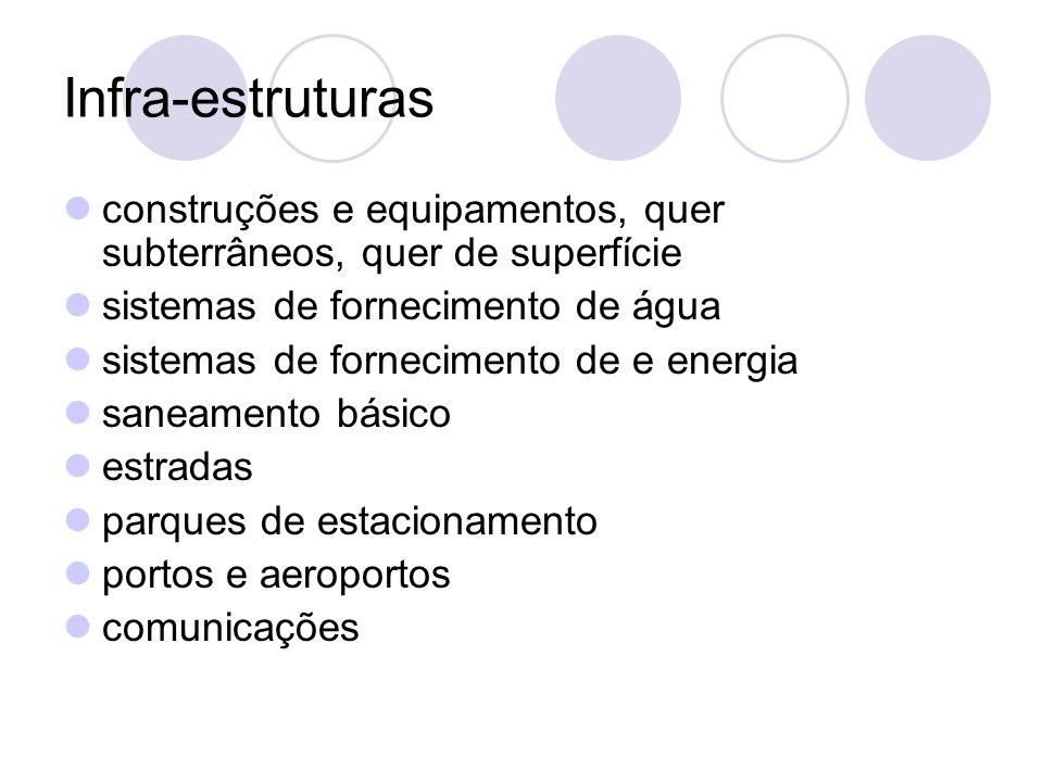 Infra-estruturas construções e equipamentos, quer subterrâneos, quer de superfície sistemas de fornecimento de água sistemas de fornecimento de e ener