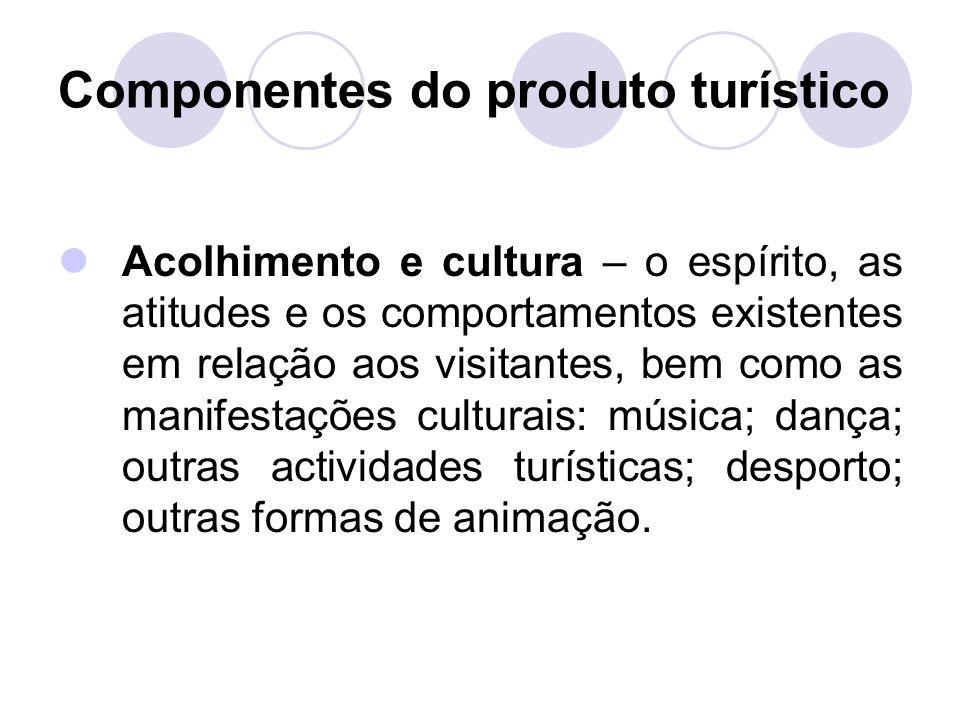 Componentes do produto turístico Acolhimento e cultura – o espírito, as atitudes e os comportamentos existentes em relação aos visitantes, bem como as