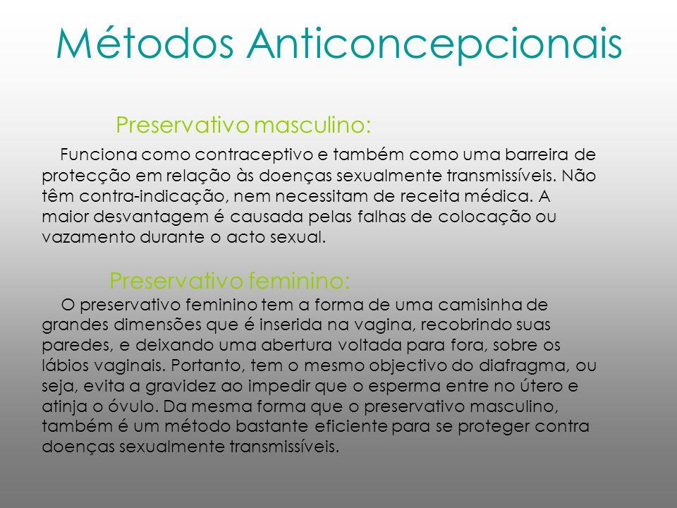 Métodos Anticoncepcionais Preservativo masculino: Funciona como contraceptivo e também como uma barreira de protecção em relação às doenças sexualment