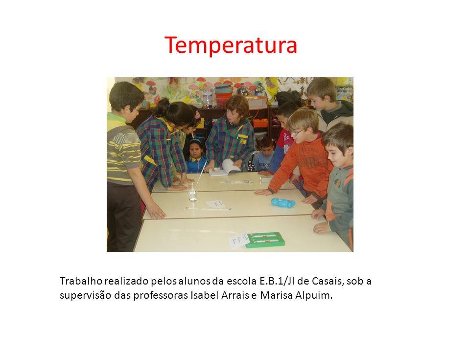 Temperatura Trabalho realizado pelos alunos da escola E.B.1/JI de Casais, sob a supervisão das professoras Isabel Arrais e Marisa Alpuim.