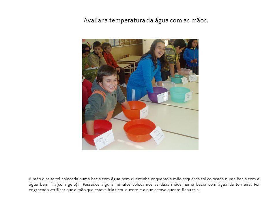 Avaliar a temperatura da água com as mãos. A mão direita foi colocada numa bacia com água bem quentinha enquanto a mão esquerda foi colocada numa baci