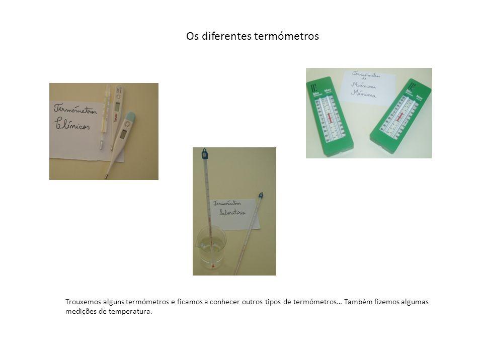 Os diferentes termómetros Trouxemos alguns termómetros e ficamos a conhecer outros tipos de termómetros… Também fizemos algumas medições de temperatur
