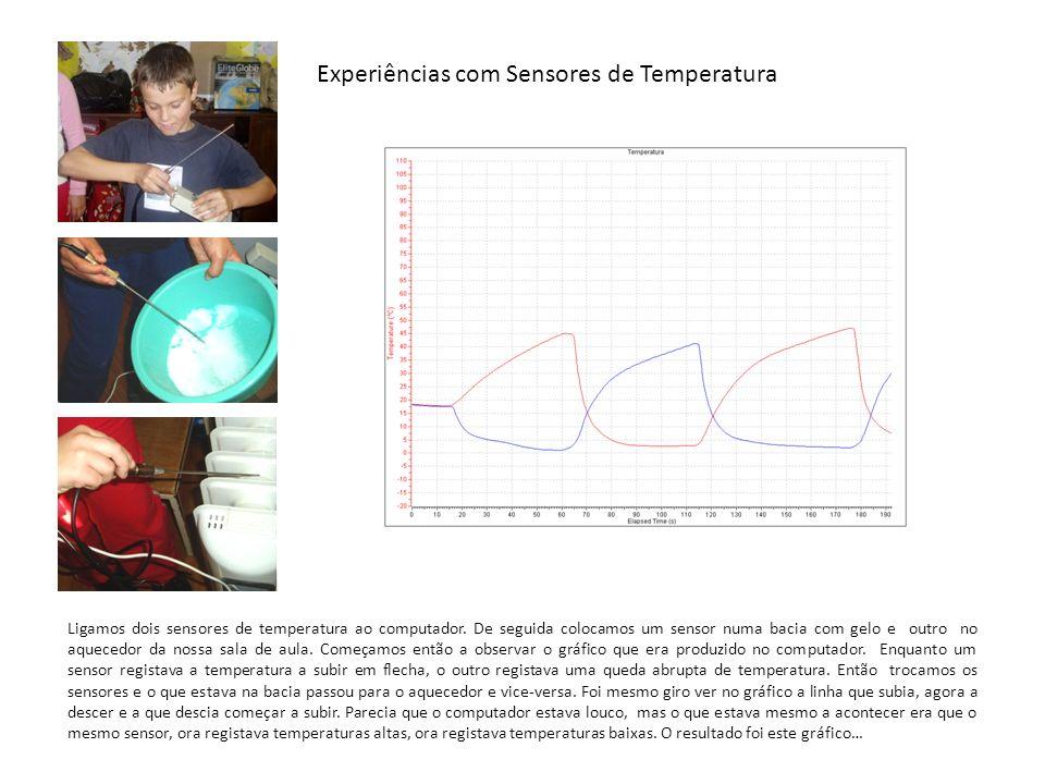 Experiências com Sensores de Temperatura Ligamos dois sensores de temperatura ao computador. De seguida colocamos um sensor numa bacia com gelo e outr