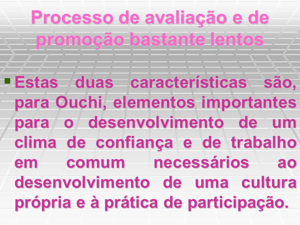 Processo de avaliação e de promoção bastante lentos Estas duas características são, para Ouchi, elementos importantes para o desenvolvimento de um cli