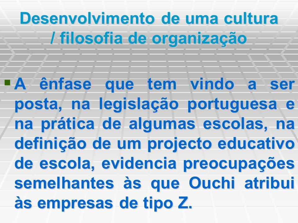Desenvolvimento de uma cultura / filosofia de organização A ênfase que tem vindo a ser posta, na legislação portuguesa e na prática de algumas escolas