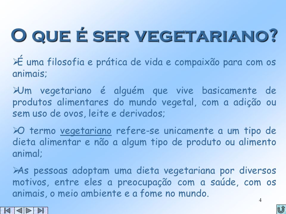 3 Objectivos Breve definição de vegetarianismo Vs. veganismo; Mitos sobre o Vegetarianismo; Porquê ser vegetariano; Algumas celebridades vegetarianas;