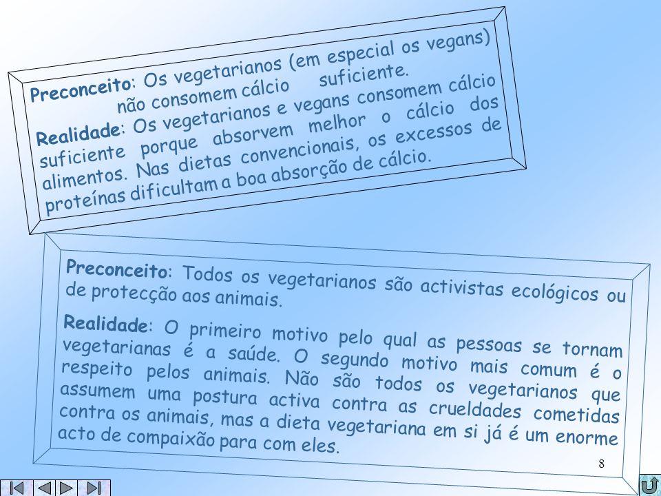 7 Mitos sobre o Vegetarianismo Preconceito: Os vegetarianos não consomem proteínas suficientes. Realidade: Os vegetarianos consomem proteínas suficien