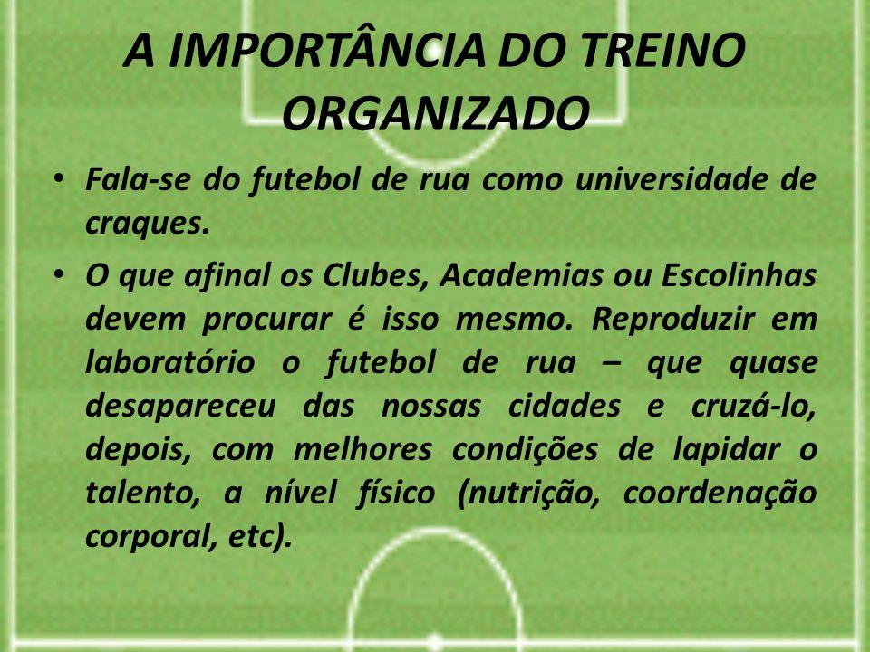 A IMPORTÂNCIA DO TREINO ORGANIZADO Fala-se do futebol de rua como universidade de craques. O que afinal os Clubes, Academias ou Escolinhas devem procu