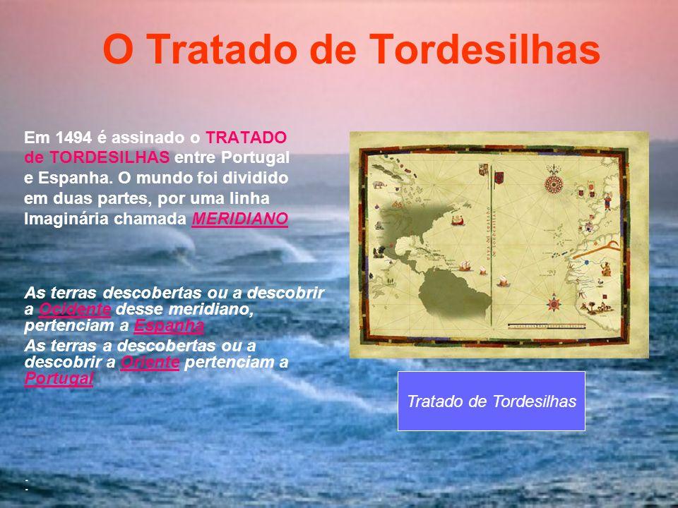 O Tratado de Tordesilhas Em 1494 é assinado o TRATADO de TORDESILHAS entre Portugal e Espanha. O mundo foi dividido em duas partes, por uma linha Imag