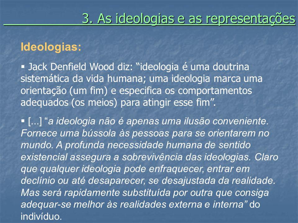 3. As ideologias e as representações 3. As ideologias e as representações Ideologias: Jack Denfield Wood diz: ideologia é uma doutrina sistemática da