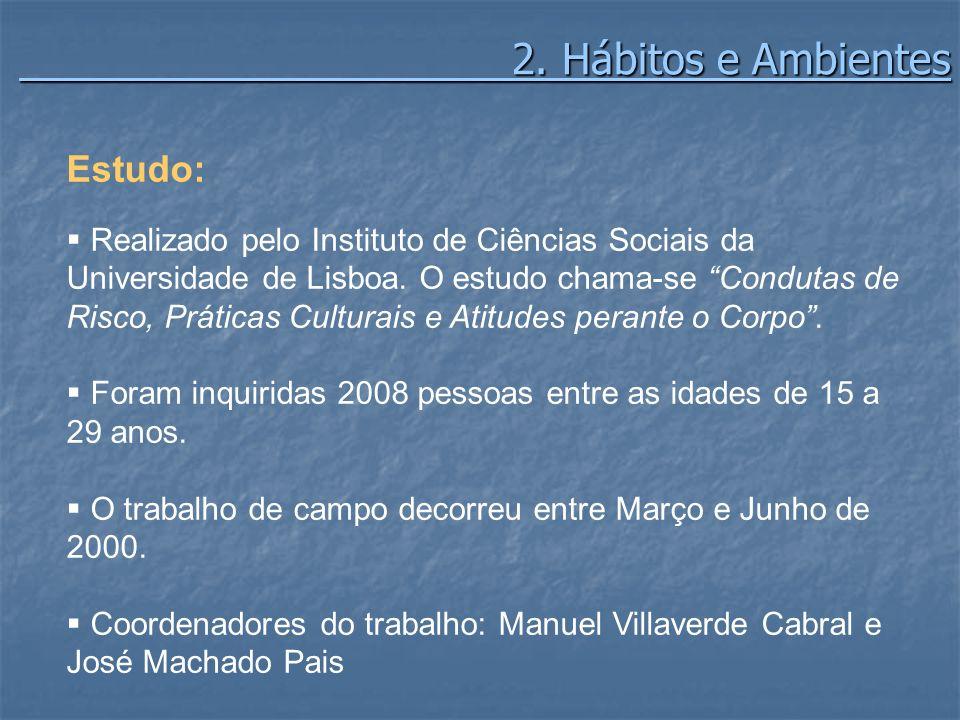 2. Hábitos e Ambientes 2. Hábitos e Ambientes Estudo: Realizado pelo Instituto de Ciências Sociais da Universidade de Lisboa. O estudo chama-se Condut