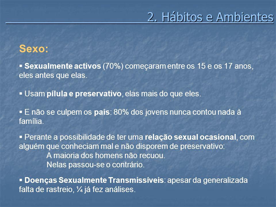 2. Hábitos e Ambientes 2. Hábitos e Ambientes Sexo: Sexualmente activos (70%) começaram entre os 15 e os 17 anos, eles antes que elas. Usam pílula e p