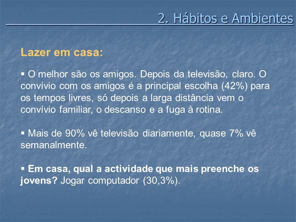 2. Hábitos e Ambientes 2. Hábitos e Ambientes Lazer em casa: O melhor são os amigos. Depois da televisão, claro. O convívio com os amigos é a principa