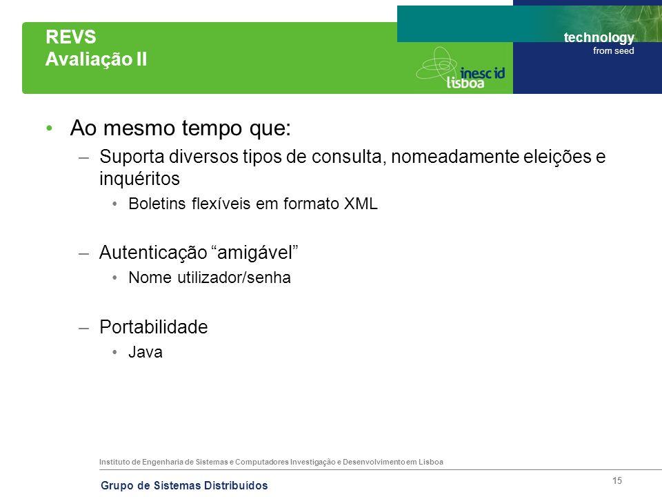 Instituto de Engenharia de Sistemas e Computadores Investigação e Desenvolvimento em Lisboa technology from seed Grupo de Sistemas Distribuídos 15 REV