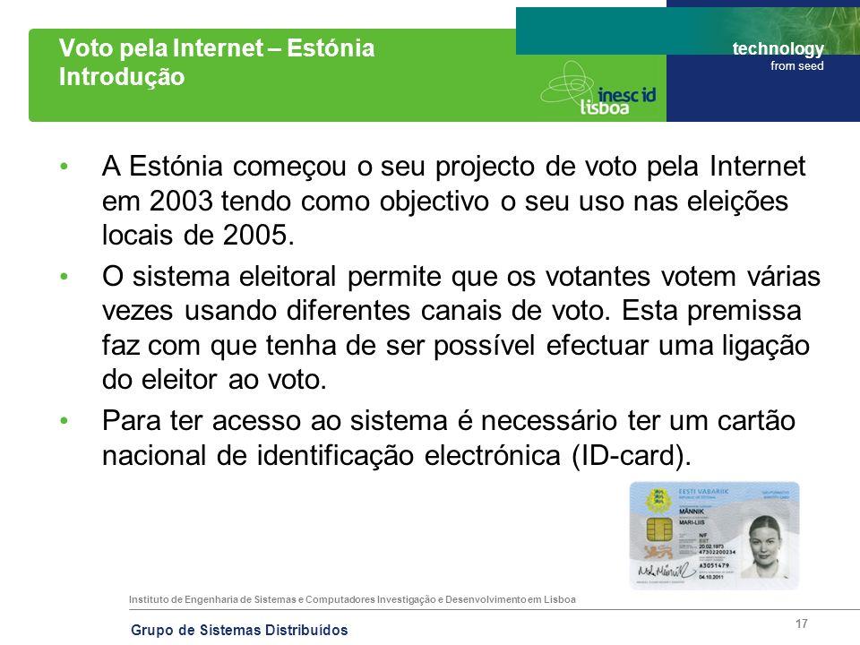 Instituto de Engenharia de Sistemas e Computadores Investigação e Desenvolvimento em Lisboa technology from seed Grupo de Sistemas Distribuídos 17 Vot