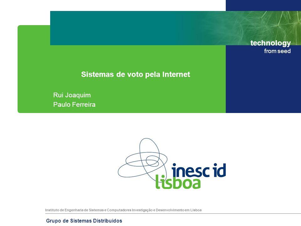 Instituto de Engenharia de Sistemas e Computadores Investigação e Desenvolvimento em Lisboa technology from seed Grupo de Sistemas Distribuídos 23 Voto pela Internet – Estónia Avaliação Arquitectura centralizada.