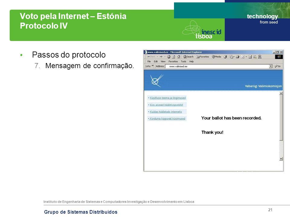Instituto de Engenharia de Sistemas e Computadores Investigação e Desenvolvimento em Lisboa technology from seed Grupo de Sistemas Distribuídos 21 Vot