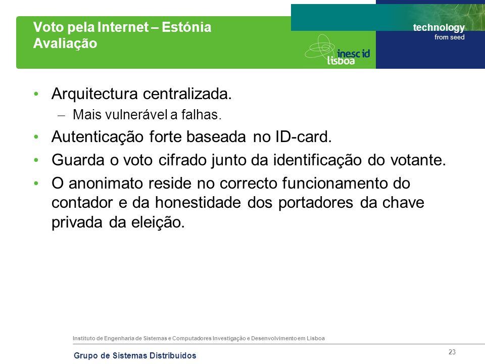 Instituto de Engenharia de Sistemas e Computadores Investigação e Desenvolvimento em Lisboa technology from seed Grupo de Sistemas Distribuídos 23 Vot