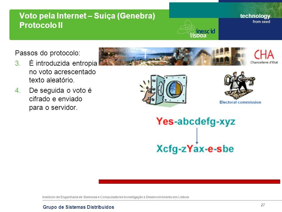 Instituto de Engenharia de Sistemas e Computadores Investigação e Desenvolvimento em Lisboa technology from seed Grupo de Sistemas Distribuídos 27 Vot