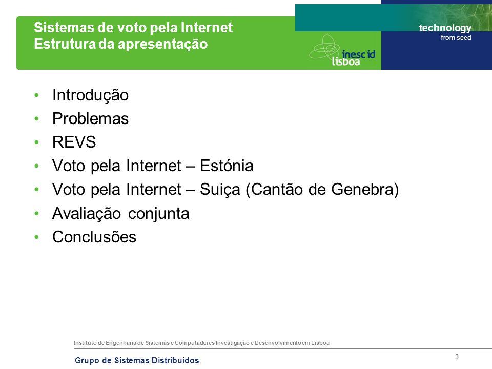 Instituto de Engenharia de Sistemas e Computadores Investigação e Desenvolvimento em Lisboa technology from seed Grupo de Sistemas Distribuídos 34 Sistemas de voto pela Internet Links REVS –http://www.gsd.inesc-id.pt/~revs/ Estónia –http://www.vvk.ee/engindex.html Suiça –http://www.geneve.ch/evoting/english/ Fim.